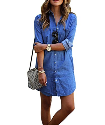 Denim kleid damen, Sondereu Minikleid jeans Jeanskleid damen Lässig Lose Kurz Hemdblusenkleid Tunika Jeansbluse (XL) (Einreiher Kragen Denim)