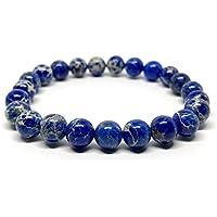 GOOD.designs Chakra-Bracciale in vera Naturale-pietre Diaspro, Chakra-ciondolo, motivazione-braccialetti (blu)