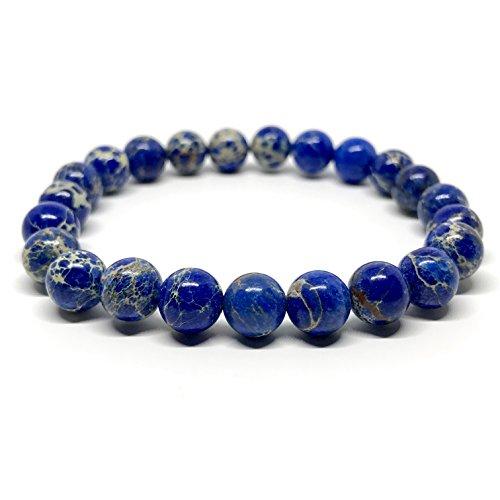 GOOD.designs Chakra Perlen-Armband aus Meeressediment Jaspis-Natursteinen (Blau)