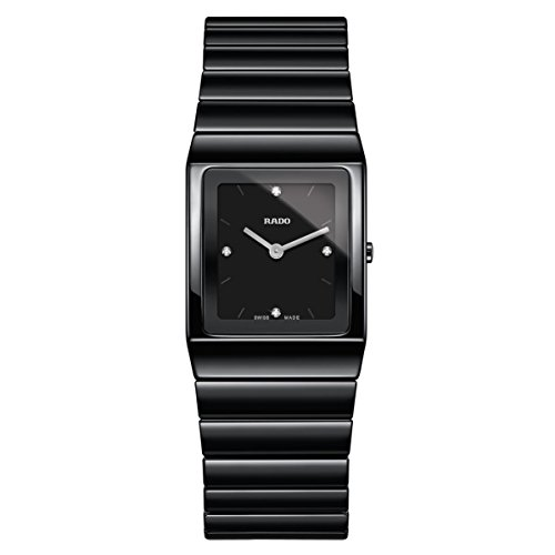 Rado Women's Ceramica Diamond Black Ceramic Case Quartz Analog Watch R21702702