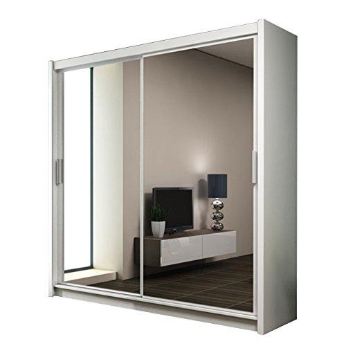 Kleiderschrank mit Spiegel Paries, Modernes Schwebetürenschrank, Schiebetür, Schlafzimmerschrank, Schlafzimmer (203 cm, Weiß / Spiegel)
