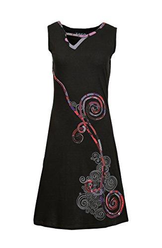 Damen-Sommer-Sleeveless Kleid mit bunten Spirale Print Design-Kurvige Schwarz