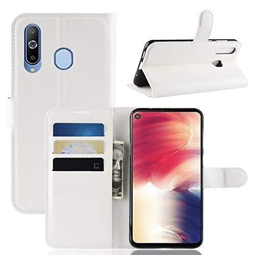 KNOB Samsung Galaxy A8S Hülle,PU Leder Tasche Flip Wallet Schutzhülle mit Card Slot and Magnetic Closure [Stand Funktion] Für Samsung Galaxy A8S (Weiß)