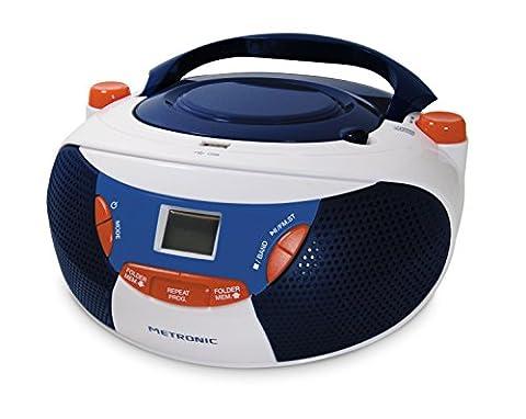 Metronic 477113 Radio / Lecteur CD / MP3 Portable pour Enfant BBR avec Port USB - Bleu/Blanc/Rouge
