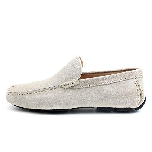 GIORGIO REA Chaussures Homme Car Shoes Crème Mocassins Mâle Main Italiennes, Cuir, Élégant, Classique, Oxford Classic Shoes
