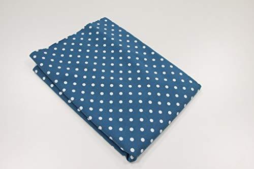 Pinidi Coupe Tissu 50 cm x 140 cm/Ökotex/Jersey à Pois Blancs sur Bleu pétrole