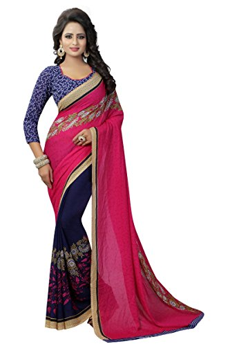J B Fashion Women's Georgette Rani color Saree with Blouse piece  available at amazon for Rs.499