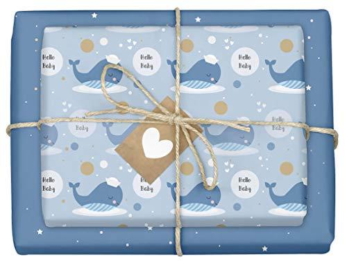 eburt für Baby Jungen: 4x Einzelbögen (doppelseitig) + 4x Geschenkanhänger (It's a boy, blau, Wal) ()