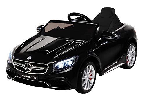 Kinder Elektroauto Mercedes Amg S63 - Lizenziert - 2 x 45 Watt Motor - Ledersitz - Sd-Karte - Usb - Mp3,- 12 Volt 10AH - Rc 2,4 Ghz Fernbedienung - Elektro Auto für Kinder ab 3 Jahre (schwarz)