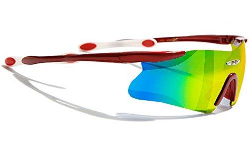 occhiali-da-sole-x-loop-sport-ciclismo-mtb-sci-running-moto-tennis-mod-055p-rosso-e-bianco-fire-irid