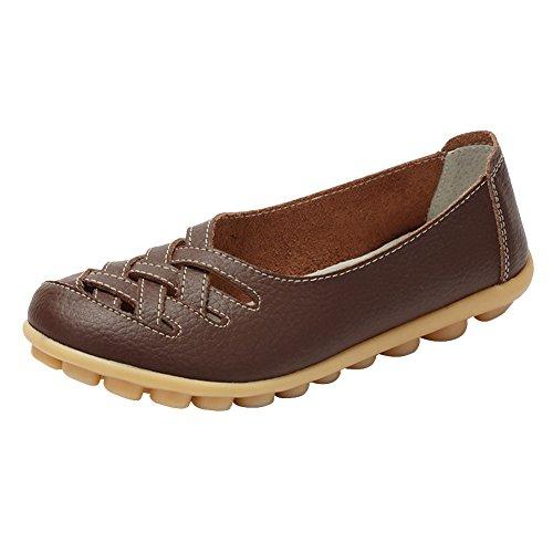 Scarpe da donna mocassini pantofole col tacco basso piatto casuali scarpe da barca loafers confortevole in pelle rotonda testa elegante per primavera estate caffè 41 eu