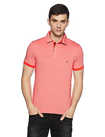 Tommy Hilfiger Men's Polo (8907504547807_S7AMK113_Small_Hot Coral)