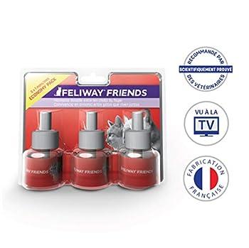 FELIWAY Friends - Anti Conflit pour Chat - Pack de 3 Recharges - 3 x 48 ml