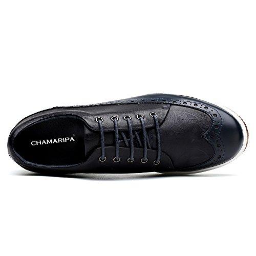CHAMARIPA Chaussures Rehaussantes Sneakers en Cuir de Homme - Grandit DE 6 cm-L62C26K015D Bleu