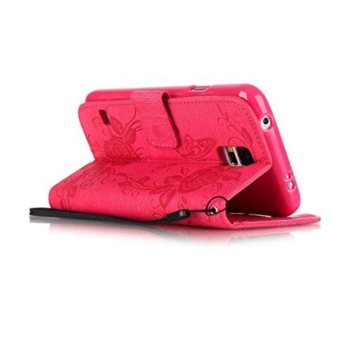 EKINHUI Case Cover IPhone 5s Fall, gemaltes Farbendiamantmuster-Mappenartkasten magnetisches entwerfen Flipfolio PU-Lederabdeckung Standup-Abdeckungsfall für iPhone 5s SE ( Color : Black , Size : IPho Rose