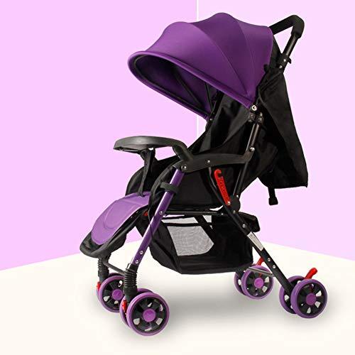 AZW Sonnenschutz-Kinderwagen-Tragetasche und Kinderwagen, Leichter Klapp-Buggy bis 25 kg Mit Liegeposition Liegend, Sonnenschutz-Vierrad-Kinderwagen,Purple