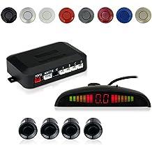 Cocar Coche Auto Vehículo Visual Reserva Radar Sistema con 4 Estacionamiento Sensores + Distancia Info Vídeo Salida + Sonido Advertencia (Negro Color)