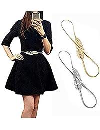 Famhome Vintage ceinture ceinture élastique stretch taille sangle ceinture  drapée feuille conception fermoir taille stretch ceinture 6d0947af21c