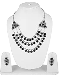 Aradhya High Finished Silver And Black Natural Onyx Stone Designer Necklace With Earrings For Women And Girls