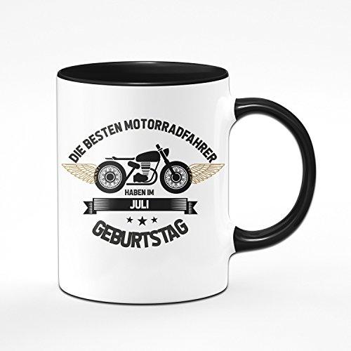 Motorrad Tasse Motrradfahrer haben im Juli Geburtstag - Geschenk für Motorradfahrer, Motorradfans - Geburtstagsgeschenk/Geschenkideen für Männer - Monat wählbar (Juli)