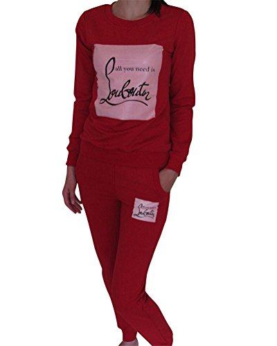 Donna Jogging Sportiva Collo Rotondo lettere stampa 2 Pezzi Felpa e Pantaloni Rosso