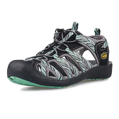GRITION Frauen Athletisch Wandern Sandalen Geschlossene Zehe Wasser Schuhe Abenteuerlichen Outdoor Sport Trail Sommer (39 EU, Blau)
