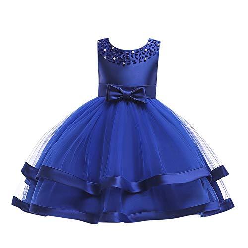 JUTOO Kinder Baby Mädchen Bowknot Perle Prinzessin ärmellose Abendkleider (Blau130)
