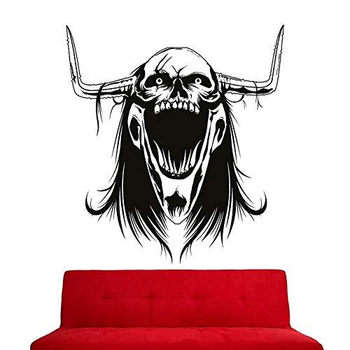 Crâne Halloween Corne Autocollant Punk Décalque Diable Affiche Nom De La Fenêtre De Voiture Décorations Murales Parede Décor Murale 58x63cm