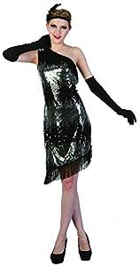 Reír Y Confeti - Fibfla011 - Para adultos traje - Traje Charleston Plata de Lujo - Mujer - Talla M