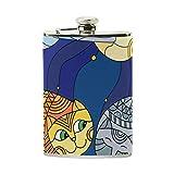 Tizorax Chats en vitrail Ciel étoilé et lune en acier inoxydable Flasque, poche Pichet, le camping, Pot de vin, cadeau pour homme ou femme, 226,8gram