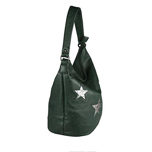 italyshop24_com, Borsa tote donna marrone Dunkelbraun29x28x20 cm ca.: 29x28x20 cm (BxHxT) verde scuro
