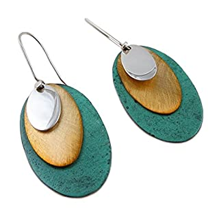 Long 925 Silver and Copper Mixed Metal Designer Oval Drop Earrings