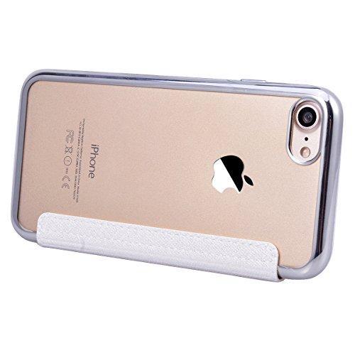 Cover per iPhone 7 Plus / iPhone 8 Plus, VemMore Custodia Finestra Vista in Flip Pelle PU Case di Ultra Sottile Libro Stile Caso con Sensore Touch Intelligente & Stent Supporto Funzione Copertura del  Bianco