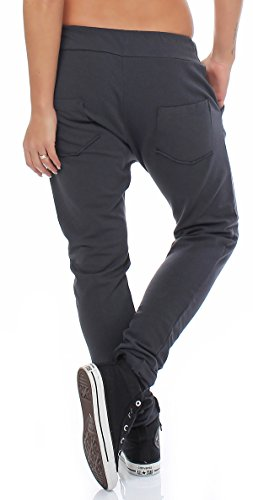ZARMEXX lässige Damen Hose Sweathose Haremshose Sweatpants Baumwollhose Freizeit Boyfriend Jogginghose Baggy Loose fit Anthrazit