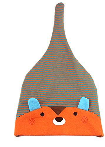 La vogue Baby gestreift Schlafen Mütze Erstlingsmütze One Knot Hat (Orange)