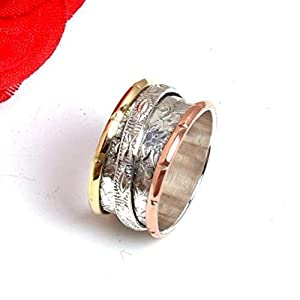 Meditationsringe, Spinnerringe, Silberringe für Frauen, Spinning Ring for Women, 925 Sterling Silver Band, Brass and Copper Spinner Ring for Women, Textured Ring, Anxiety Ring for Meditaion