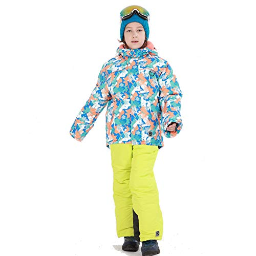 LPATTERN Traje de Esquí para Niños/Niñas Traje Conjunto de Nieve Impermeable para Deportes de Invierno, Azul Claro+Amarillo, Talla:116-122/5-6 años