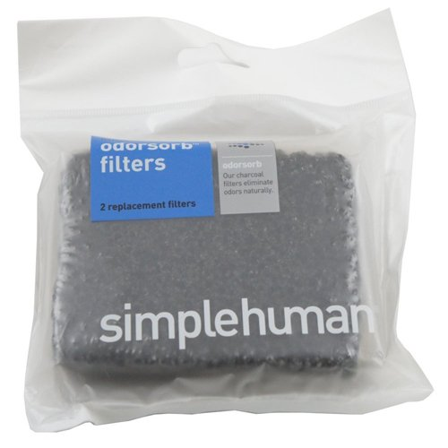 simplehuman KT1137 Odorsorb Filter Refills, Plastic, Black, Pack of 2