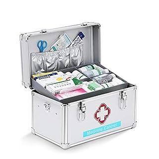 JWD Tragbarer Erste-Hilfe-Kasten Aus Aluminiumlegierung, AbschließBar, Medizin-Aufbewahrungskasten Mit Sicherheitsschloss, Erste-Hilfe-Kasten. (S/M/L/XL)