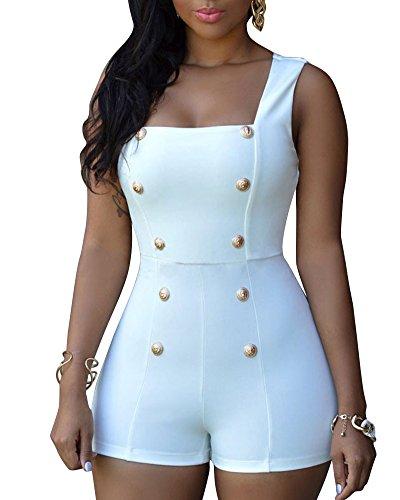 SaiDeng Femmes Classique Carré Collier Sans Manches Mini Clubwear Romper Playsuit Jumpsuit Blanc