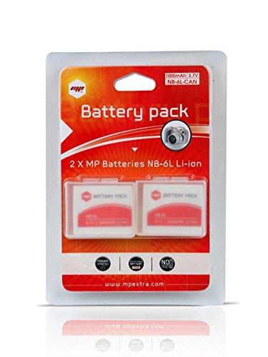 2 x batteria NB6L NB-6L MP EXTRA  per CANON Digital Ixus, 105, 200 IS, 210 IS, 85 IS, 95 IS, 300 HS, 310 HS, Canon Powershot SD10, D20, S90, S95, SX240 HS, SX260 HS, SX500 IS