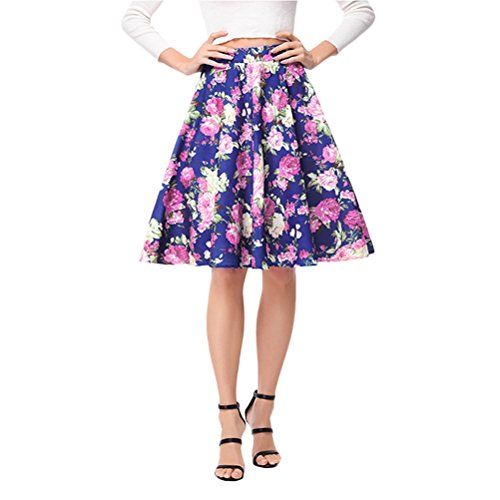 Zhhlaixing Mode Damen Retro Elegant High Waist Floral Print A-Line Skirt Knee Length Schön for Womens Ladies Summer (High-waist Floral Pencil-skirt)