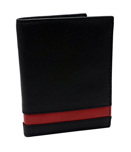 BLOCAGE RFID Protection Soft Cuir véritable Designer Mens Compact Slim Wallet Card / ID Holder Gift Boxed