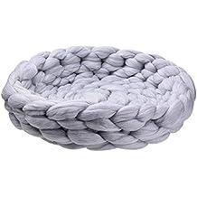 Oshide - Caseta gruesa de lana tejida a mano para gatos, perros, gatos