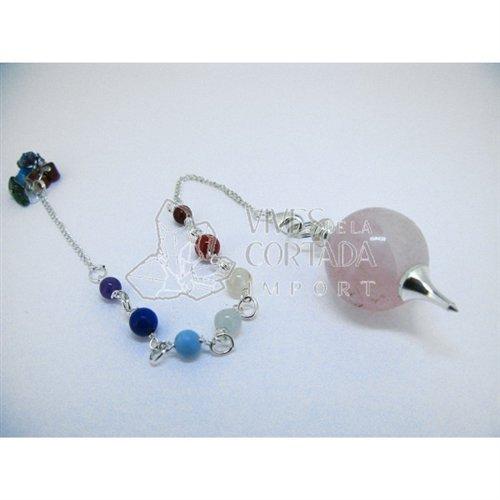 Mineral Import - Péndulo Mermet con Cuarzo rosa baño de plata y mine