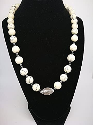 Kette Howlith, Silber 925, Swarovski Elements, Perle