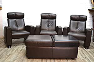 3 x Ekornes stressless fauteuil arion avec pouf, homecinema/home cinema