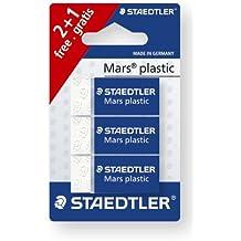 Staedtler 526 53 ABK3D Radierer Mars plastic mini phtalat- und latexfrei, 3 Stück auf Blisterkarte, 1 Stück gratis, weiß