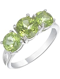 Sterling Silver Peridot 3 Stone Ring (2.20 CT)