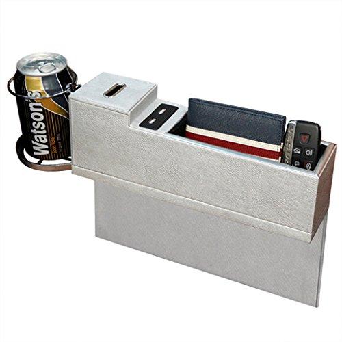 LSQR Autositz Organizer PU Leder Ladegerät Getränkehalter 2 USB Lade Aufbewahrungsbox Multifunktionale Auto Slot Aufbewahrungsbox Autositz Spannbox,Silver